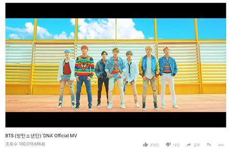 人気アイドルグループ防弾少年団の「DNA」のミュージックビデオが、K-POPグループ史上最短期間で再生回数1億回を突破した。(写真提供:OSEN)