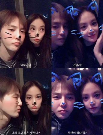 韓国の人気グループ「BIGBANG」G-DRAGON(29)とガールズグループ「AFTERSCHOOL」出身の女優イ・ジュヨン(30)のツーショット動画が話題だ。(キャプチャー画像)