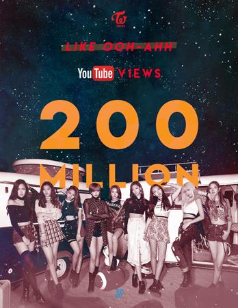 韓国ガールズグループ「TWICE」のデビュー曲「Like OOH-AHH」ミュージックビデオ(MV)がYouTube再生回数2億回を突破した。(提供:news1)
