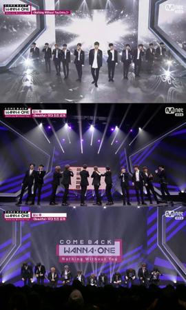 韓国ボーイズグループ「Wanna One」が新曲で1位を獲得したことを聞き、ファンに深くお辞儀をした。(提供:OSEN)