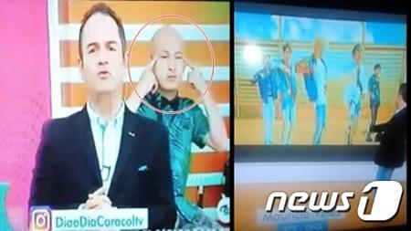 コロンビアの番組で韓国ボーイズグループ「防弾少年団」に対する人種差別的なジェスチャーをして物議を醸している。(提供:news1)