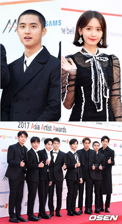 韓国ボーイズグループ「EXO」とD.O.、「少女時代」ユナが、人気賞を受賞した。(提供:OSEN)