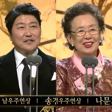 韓国俳優ソン・ガンホと女優ナ・ムニが主演賞を受賞した。(提供:OSEN)