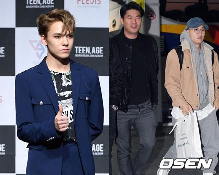 韓国アイドルグループ「SEVENTEEN」VERNON(バーノン)が「2017 Mnet Asian Music Awards (MAMA)」で「ダイナミック・デュオ」とコラボレーションステージを披露する。(提供:OSEN)