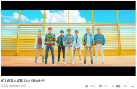 「防弾少年団」の「DNA」ミュージックビデオの再生回数がK-POPグループ史上、最短期間で2億回を突破した。(提供:OSEN)