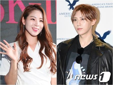 韓国歌手チャン・ヒョンスン(28)と元新体操韓国代表でプロボウラーのシン・スジ(26)が交際していることがわかった。(提供:news1)