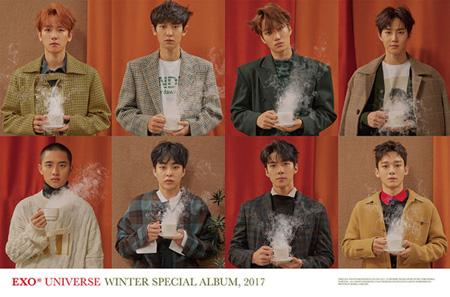"""""""ウインターソングの帝王""""「EXO」、gaonアルバムチャート月間1位獲得! (提供:news1)"""