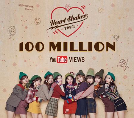 韓国ガールズグループ「TWICE」の「Heart Shaker」ミュージックビデオ(MV)がYouTube再生回数1億回を突破した。(提供:OSEN)