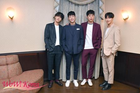 俳優グループ「One O One」左からアン・ヒョソプ、クァク・シヤン、ソン・ウォンソク、クォン・ドギュン