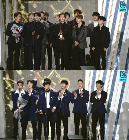 韓国ボーイズグループ「SEVENTEEN」と「BTOB」が、「ソウル歌謡大賞」で本賞を受賞した。(提供:news1)