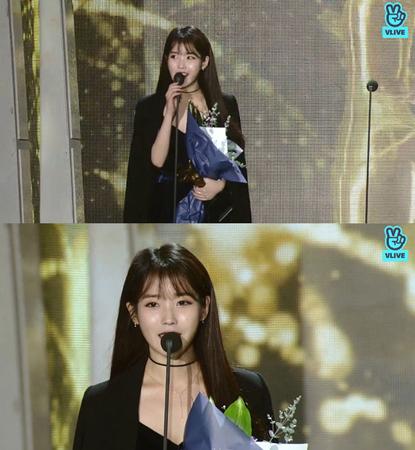 韓国歌手IU(アイユー)が、「ソウル歌謡大賞」でベストアルバム賞を受賞した。(提供:news1)