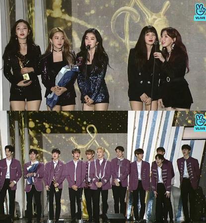 韓国ボーイズグループ「Wanna One」とガールズグループ「Red Velvet」が、「ソウル歌謡大賞」で本賞を受賞した。(提供:news1)