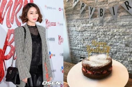 女優イ・ミンジョンが息子にプレゼントされた誕生日ケーキを公開した。(提供:OSEN)