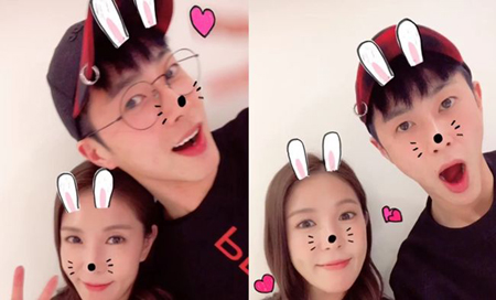 韓国歌手BoAが、ボーイズグループ「東方神起」メンバーのユンホとの仲睦まじい写真を公開した。(提供:OSEN)