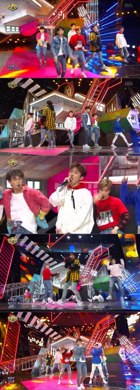 11日午後に放送されたSBS「人気歌謡」で、「iKON」の新曲ステージが初公開された。(提供:OSEN)