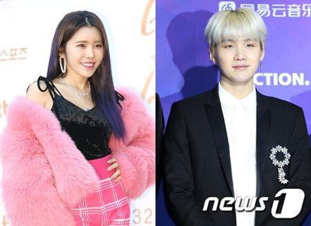 韓国ボーイズグループ「防弾少年団」メンバーのSUGAと歌手SURANが突然の熱愛疑惑に巻き込まれたが、二人の所属事務所は熱愛を否定した。(提供:news1)