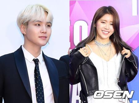 韓国ボーイズグループ「防弾少年団」メンバーのSUGAと歌手SURANに突然の熱愛疑惑が浮上したが、二人の所属事務所は否定した。(提供:OSEN)