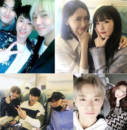 「東方神起」「少女時代」「SJ」らSM所属歌手がドバイ行き機内での和気あいあいとした姿を公開(提供:OSEN)