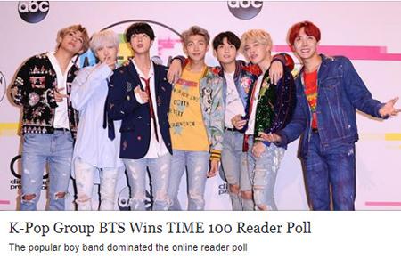 韓国アイドルグループ「防弾少年団」が「2018 TIME 100 Reader」設問調査で1位に輝いた。(提供:OSEN)