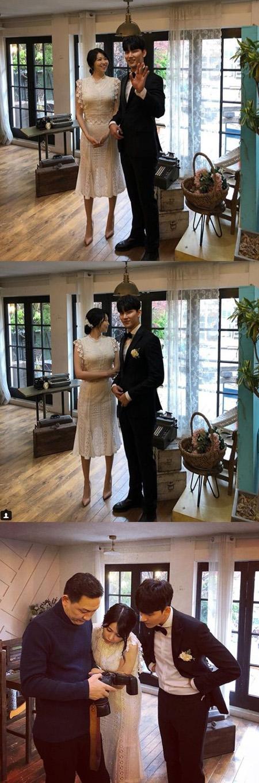 韓国歌手ノ・ジフン(27)がイ・ウンヘとウエディング撮影に臨む写真を公開した。(提供:OSEN)
