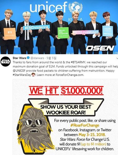"""「防弾少年団」の全世界ファン、SNS上の広報で""""100万ドル寄付""""に貢献=Star Wars側が感謝の意"""
