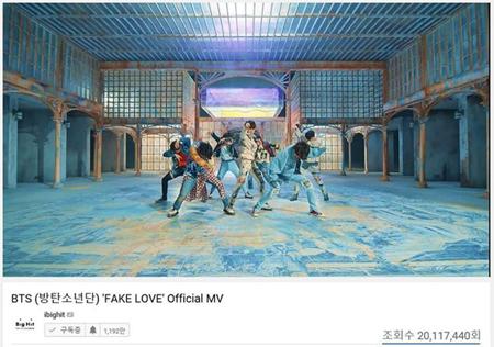 韓国ボーイズグループ「防弾少年団」が、韓国歌手歴代最短でYouTubeの再生回数を突破する大記録を達成した。(提供:OSEN)
