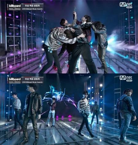 韓国アイドルグループ「防弾少年団(BTS)」が「2018 ビルボード・ミュージック・アワード(Billboard Music Awards)」で新曲「FAKE LOVE」のステージを初公開した。(提供:news1)