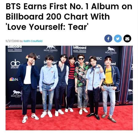 「防弾少年団」、「Billboard 200」最新チャートで1位獲得! 韓国歌手初の快挙(提供:news1)