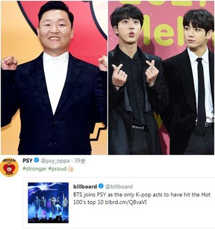 韓国歌手PSYが、自分の後に次いで米ビルボードにチャートインしたボーイズグループ「防弾少年団」にお祝いの拍手を送った。(提供:OSEN)