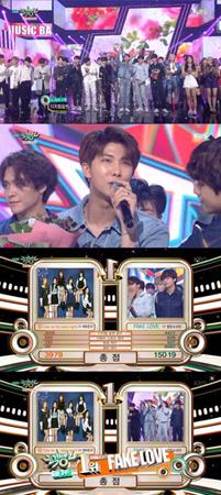 韓国ボーイズグループ「防弾少年団」が、番組歴代最高点で1位を獲得した。(提供:OSEN)