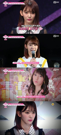 Mnet「PRODUCE 48」で最初の等級評価と再評価を経て宮脇咲良が、最終的にAと評価された。(提供:OSEN)