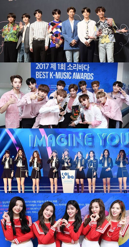 「防弾少年団」&「Wanna One」&「TWICE」&「Red Velvet」、「SORIBADA AWARDS」出演へ(提供:OSEN)