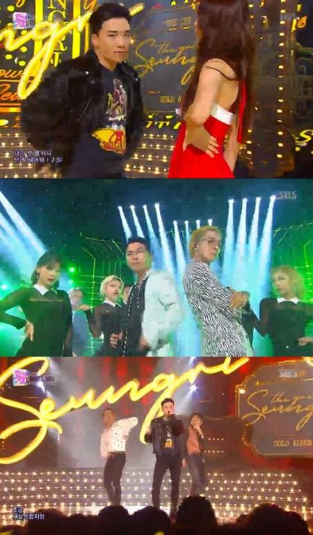 22日に放送された「人気歌謡」で、V.I(BIGBANG)が新曲「1, 2, 3! 」のカムバックステージを披露した。(提供:OSEN)