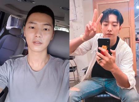 韓国バンド「CNBLUE」メンバーのカン・ミンヒョク(写真左)とイ・ジョンシン(写真右)が、翌日には入隊が迫っている中、準備をする様子を公開した。(提供:OSEN)