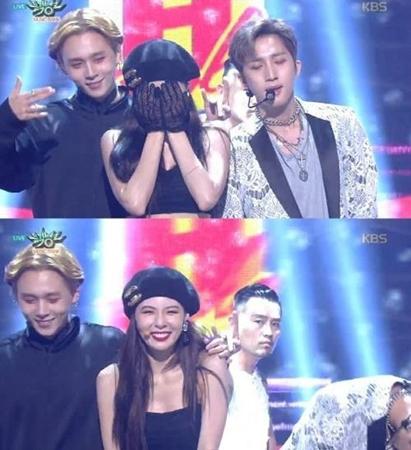 韓国ユニットグループ「Triple H」のメンバーで、交際宣言したばかりのヒョナとイドン(PENTAGON)が、音楽番組で素晴らしいステージを見せた。(提供:news1)