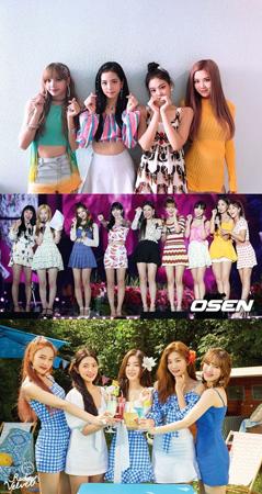 韓国ガールズグループのブランド評判2018年8月のビッグデータを分析した結果、1位は「BLACKPINK」、2位は「TWICE」、3位は「Red Velvet」となった。(提供:OSEN)