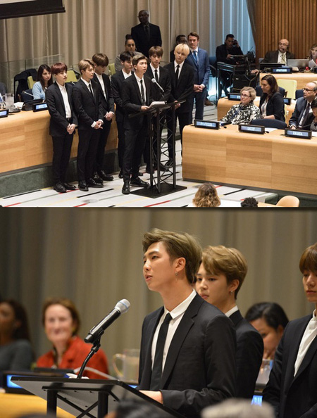 韓国アイドルグループ「防弾少年団(BTS)」が韓国歌手初の国連総会演説を行い、若い世代のためのメッセージを全世界に伝えた。(提供:news1)