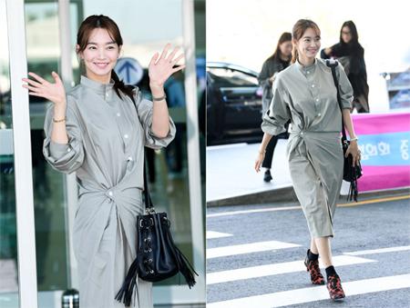 女優シン・ミナ、秋のトレンド先取りファッションで空港をランウェイに