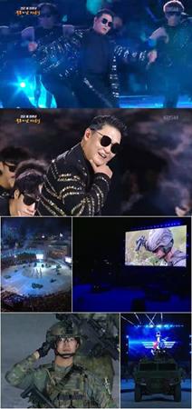 韓国歌手のPSYと、歌手兼俳優のテギョン(2PM)、シワン(ZE:A)が、第70周年国軍の日記念行事に参加した。(提供:OSEN)