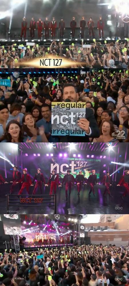 """K-POPのセンセーション""「NCT 127」、米トークショー「Jimmy Kimmel Live! 」に出演! (提供:news1)"