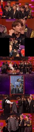 韓国ボーイズグループ「防弾少年団」が、英BBCの看板トークショー「ザ・グラハム・ノートン・ ショー」に出演し、トークと歌を披露した。(提供:OSEN)