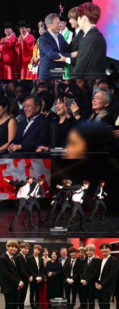 文大統領夫妻、仏・パリで「防弾少年団」の公演を観賞…微笑ましい記念写真も公開(提供:OSEN)