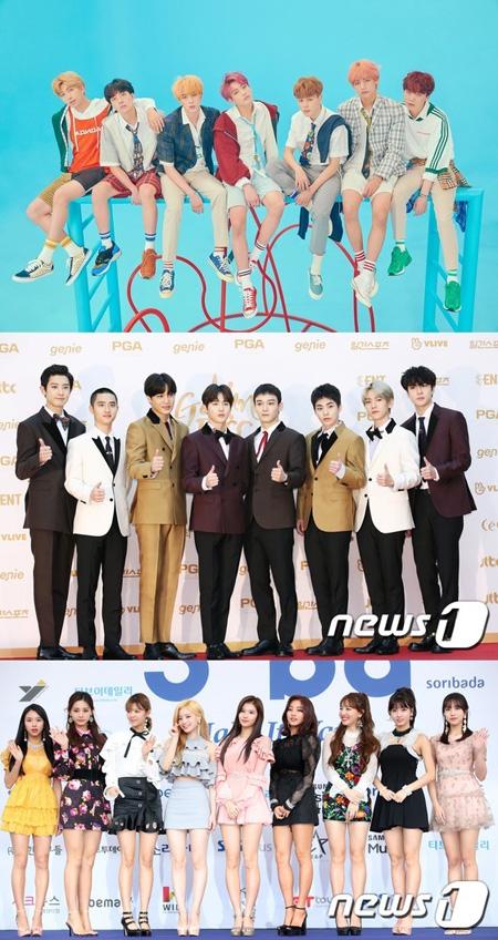 韓国アイドルグループ「防弾少年団(BTS)」と「EXO」、ガールズグループ「TWICE」が「SBS歌謡大祭典」に出演を確定した。(提供:news1)