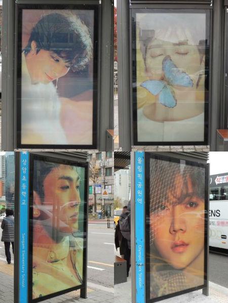 明日カムバックする「NU'EST W」がバスシェルターで広告展開中。(提供:OSEN)
