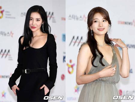 ソンミ(元WG)&スジ(元Miss A)の美貌に視線集中…セクシーなドレスで「2018 AAA」レッドカーペットに登場