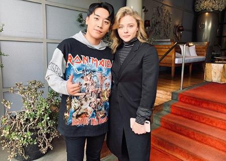 "V.I(BIGBANG)、クロエ・モレッツとのツーショットを公開=LAで""セレブな出会い""(画像:OSEN)"