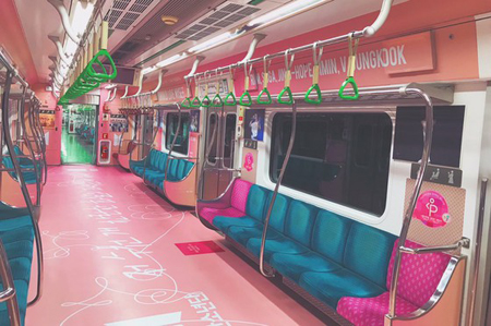 """韓国・ソウルの地下鉄2号線に""""防弾少年団車両""""が登場する。(写真提供:OSEN)"""