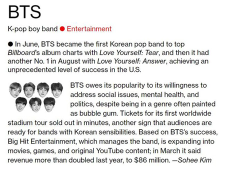 """""""韓国歌手初""""「防弾少年団」、米ブルームバーグが選んだ「The Bloomberg 50」に選定(提供:OSEN)"""