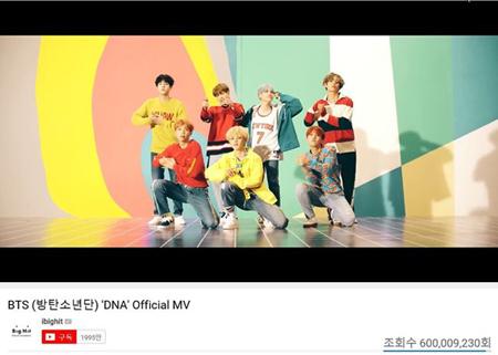韓国ボーイズグループ「防弾少年団」の「DNA」のMVがYouTubeで6億再生を突破した。(提供:OSEN)