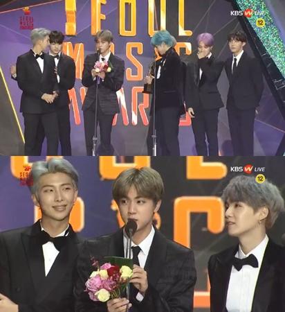 韓国ボーイズグループ「防弾少年団」が、「ソウル歌謡大賞」で本賞を受賞した。(提供:news1)